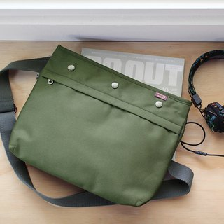 Lightweight carry-on shoulder bag (with dark gray shoulder strap) - Army Green _100380