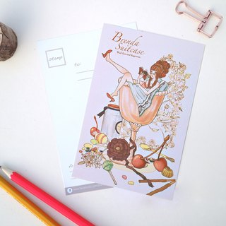 Champagne Girl Champagne Girl original illustration postcard