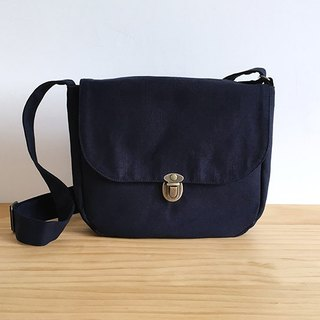 Handmade dark blue cotton canvas small cross-body bag