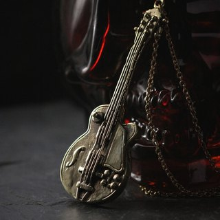 Guitar Charm Necklace by Defy - Retro Modern Pendant Jewelry