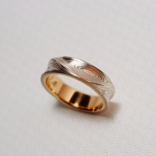 Element47 Jewelry studio~ Karat gold mokume gane wedding ring 03 (14KR/14KW/925)