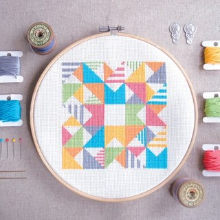 Cross Stitch KIT- Geometric - Play with Triangles n Strips
