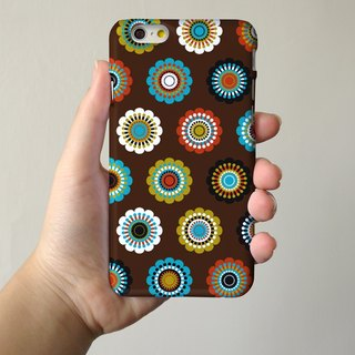 Mandala Brown Floral pattern 3D Full Wrap Phone Case, available for  iPhone 7, iPhone 7 Plus, iPhone 6s, iPhone 6s Plus, iPhone 5/5s, iPhone 5c, iPhone 4/4s, Samsung Galaxy S7, S7 Edge, S6 Edge Plus, S6, S6 Edge, S5 S4 S3  Samsung Galaxy Note 5, Note 4, No