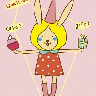 Rabbit series. Illustration postcard -?? Cake gift or me !!