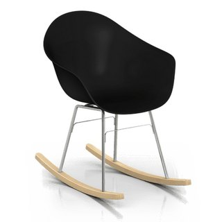 TOOU ArmShell oak rocking chair with a foot (black)