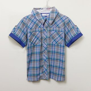 Blue, green and gray plaid short-sleeved shirt