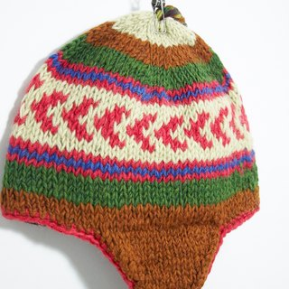Hand-knit wool hat / hand-knit cap within the bristles / flight caps / knitting caps / wool cap - Desert tone geometric pattern (handmade limited one)