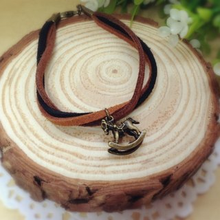 [Cream] memories plush retro horse bronze leather cord bracelet bracelet couple birthday gift handmade exclusive