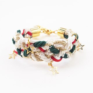 Christmas collection : braided bracelet with star charms