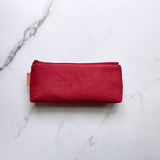 Hand-made dark red suede cloth pen bag