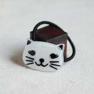 White, bright cat, hair bundle, hair ring, hair accessories