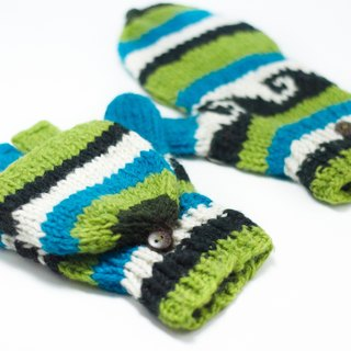 Valentine's Day gift limit a knitted pure wool warm gloves / 2ways Gloves / Toe gloves / bristles gloves / knitted gloves - grass and sky pattern