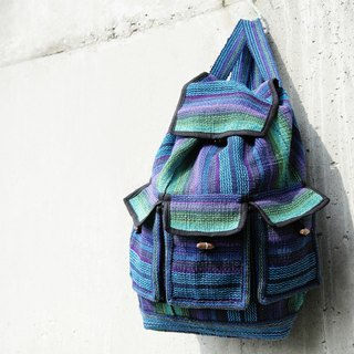 After weaving feel backpack - magic blue and green