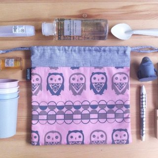Slipknot pink and gray bag Screen hand geometry owl cute grey and pink GEOMETRIC OWL silkscreen handprinted drawstring bag.
