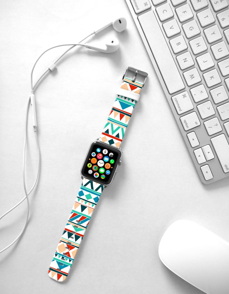 Apple Watch Series 1 , Series 2, Series 3 - Mint Navajo Tribal Pattern Watch Strap Band for Apple Watch / Apple Watch Sport - 38 mm / 42 mm avilable