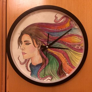 BatearsWorld watercolor painted clock