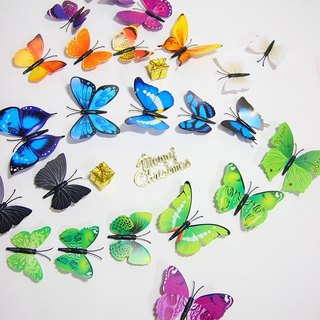 HomePlus 3D Magnetic Butterfly 4colors 12pcs Wall Stickers Decoration