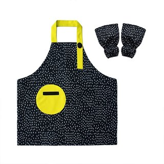 Waterproof kid apron sleeve set, Gardening, Painting, Baking, Dots, Yellow