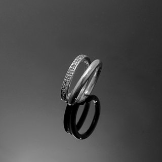 Handmade / diamond ring on the ring double-ring / 925 silver