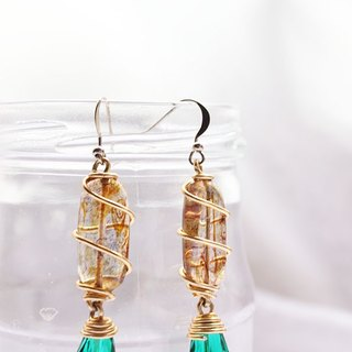 Brown and Emerald Crystal Drop Earrings (E053)