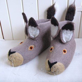 Christmas gift exchange ┃ British sew heart felt grazing sheep wool felt shoes (adult models) - Lee rabbit