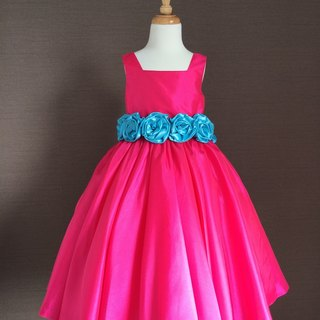 Fuchsia Taffeta Ball Gown with Turquoise Flower Waist