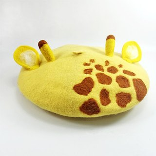 Original handmade wool felt hand-made giraffe painter cap beret