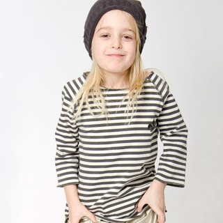 [Nordic organic cotton children's clothing] infant organic cotton striped shirt black