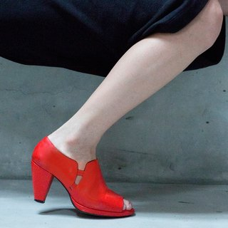[A Season for Murder] MINI TEMPTATION (Orange Red)- Leather Heels