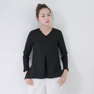 SU: MI said Split classical short before long pleated jacket _5AF101_ black