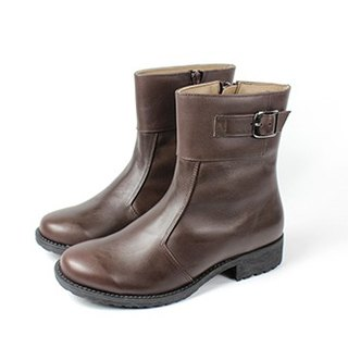 Coffee │ metal side buckle boots