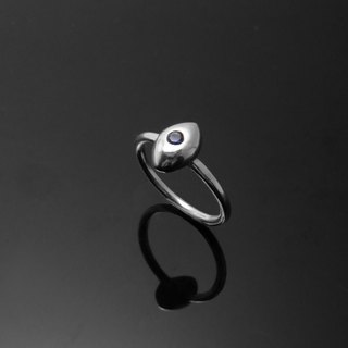 Handmade / single diamond ring eye pony tail ring / 925 silver