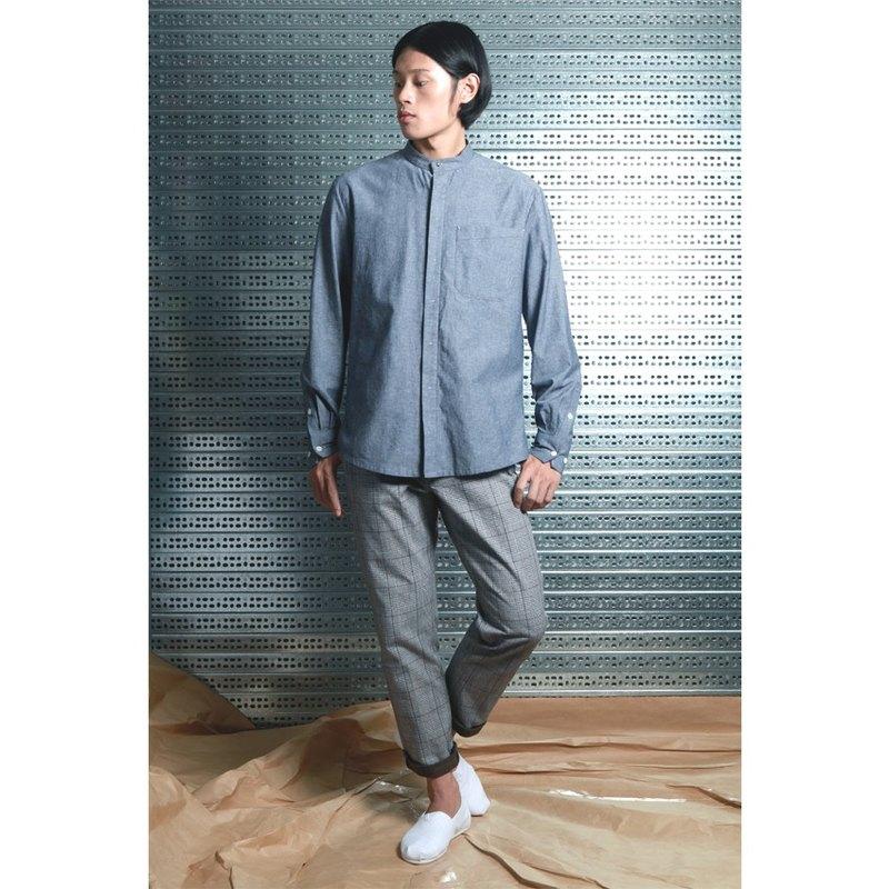 呂- 立領簡約襯衫  ( 灰 ) L