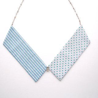 Collar Necklace| Blue & White| Dots & Stripes