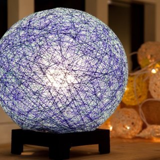 [] Hand-woven sea blue ball lampshade
