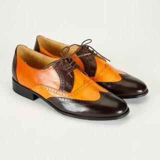 H THREE shoes / coffee two-tone cut / flat / Derby