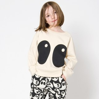 [Nordic design] organic cotton big eyes children's fun shirt white