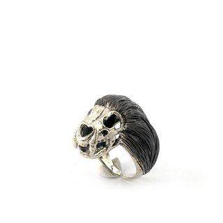 Zodiac Lion skull ring is for Leo in white bronze and oxidized antique color ,Rocker jewelry ,Skull jewelry,Biker jewelry