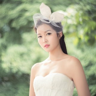 """Being of Love"" bow or rabbit ears headdress / Lovely Bride Fa ornaments / short veil wedding accessories"
