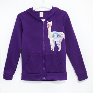 Travel fingerprints within the bristles Hooded Jacket - Peruvian alpaca / Mud Horse (purple)