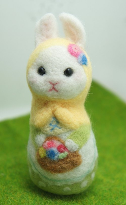 Wool Felt Flower Rabbit Russian Doll Custom