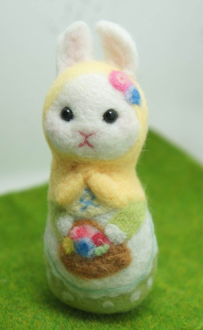 Wool felt flower rabbit russian doll