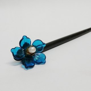 Tong Aya set a decorative ~ pull Tian-hua - Wei Zili - glass flower pearl black sandalwood hand hairpin hairpin hairpin hairpin