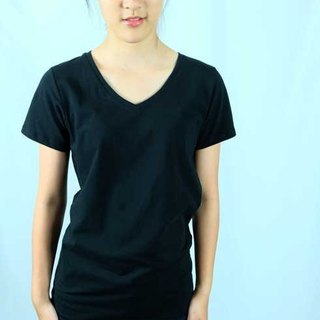 V Collar Pure Color 100% Organic Cotton T-Shirt (Female / Retro Black)
