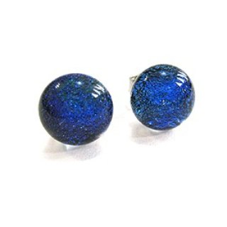 Navy blue jewelry glass earrings (autumn good match)