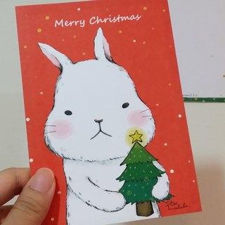 StarLululu Big White Rabbit Over Christmas - Postcard / Christmas Card (3 In) (Send Envelope)