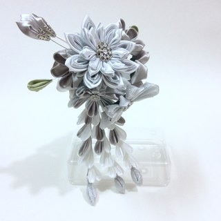 Kanzashi silver white ribbon flower comb hair accessories wedding accessories(つまみ細工)