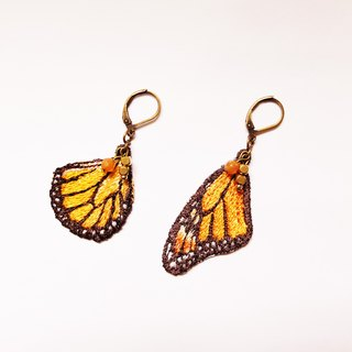 Embroidery Wings Earring / Monarch Butterfly