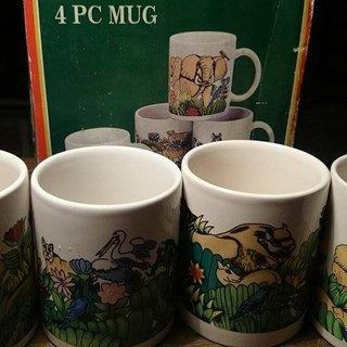 4 pcs African animals coffee mugs with box set of four African animals pattern mugs Fu Hezi