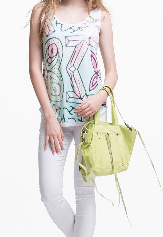 [5 fold / Great macarons color] Qin Xia small rock SODA cattle Pi Tuote package lime green | mobile | shoulder | oblique backpack